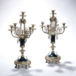 Pair of French Giltbronze and Porcelain Fivelight Candelabra