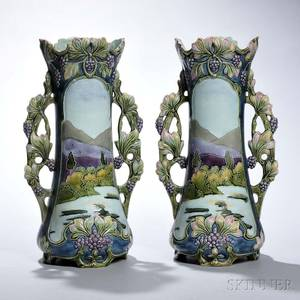 Pair of Continental Art Nouveaustyle Majolica Vases