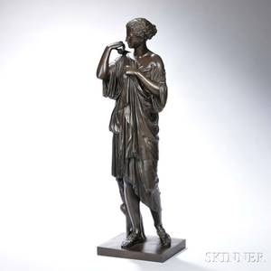 Continental School 19th Century Bronze Figure of a Maiden