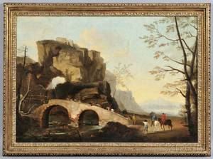 Italian School 18th19th Century Landscape with Riders Crossing a Stone Bridge