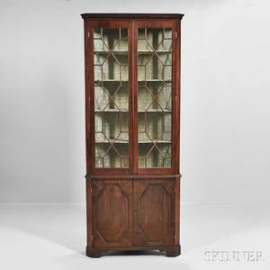 Georgian Mahogany Corner Cabinet on Base