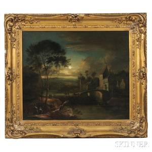 John Berney Crome British 17941842 Moonlight Landscape with Stone Bridge and Houses