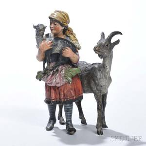 Franz Bergman Coldpainted Bronze Figure of a Girl with Goats