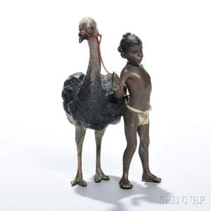 Franz Bergman Coldpainted Bronze Figure of a Boy with an Ostrich