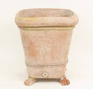 Square Terra Cotta Planter with Paw Feet