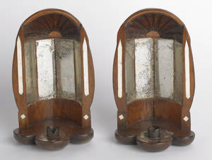 Pair of New England sailor made pine wall sconces early 19th c
