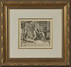 Attributed to The Master of the Die Italian 16th Century Juno Sending Psyche Away plate 20 from the series The History of Psyche
