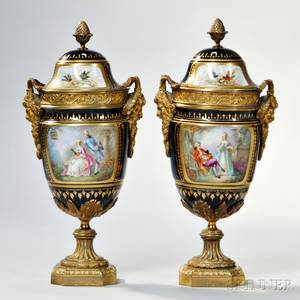 Pair of Giltbronzemounted Sevres Porcelain Vases and Covers