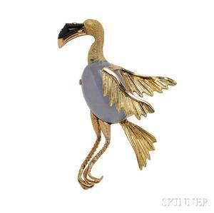 18kt Gold Gemset Bird Brooch
