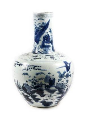 Large Blue  White Chinese Porcelain Floor Vase