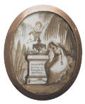 Oval sepia watercolor on ivory gold cased mourning broach late 18th c
