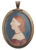 American miniature watercolor on paper profile of a woman 19th c