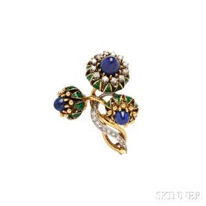 18kt Gold Lapis and Diamond Brooch La Triomphe