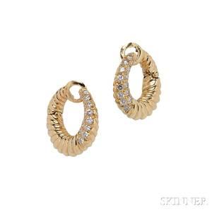 18kt Gold and Diamond Hoop Earclips