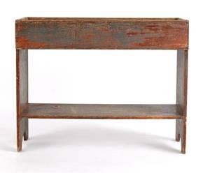 Pennsylvania painted pine bucket bench ca 1800