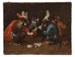 After David Teniers the Younger Flemish 16101690 Four Monkeys Drinking Smoking and Playing Cards