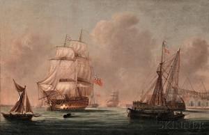 School of Thomas Whitcombe British 17631824 War Ship at Port Possibly Southampton