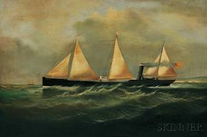 Thomas Goldsworth Dutton British c 18191891 Steamship Under Way