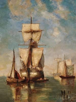 Paul Jean Clays Belgian 18191900 Sailing Vessels in Quiet Waters
