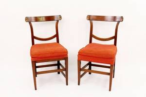 Pair of Walnut Framed Chairs w Carved Grotesques