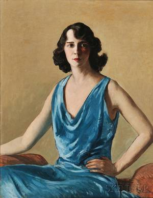 Gifford Beal American 18791956 Portrait Study in Blue Esther Becker Goetz