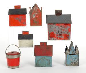 Six painted tin house banks