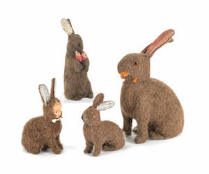 Four German mohair rabbit candy containers