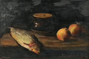 Karl Emil Termohlen DanishAmerican 18631938 Still Life with Fish and Fruit
