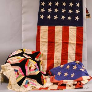 Fiftystar American Flag a Fortyeight Star Flag and a Pieced Velvet and Silk Crazy Quilt