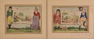 Pair of Matted Handcolored Satirical Prints A Fishing Party and A Shooting Party