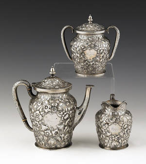 Philadelphia threepiece repouss silver tea service by Bailey  Co 19th c