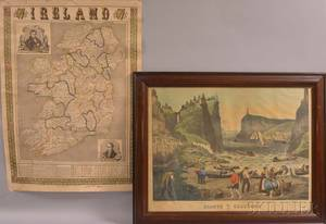 Ensign  Thayer Historical Sketch of Ireland and a Framed Thomas Kelly Engraving Giants Causeway