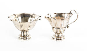 Georg Jensen sterling silver footed bowl and creamer