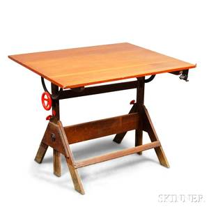 Maple and Pine Adjustable Drafting Table