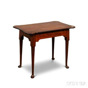 Queen Annestyle Maple and Mahogany Porringertop Onedrawer Tea Table