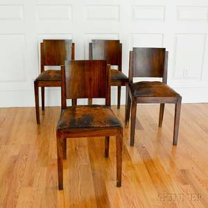 Set of Four Art Deco Leatherupholstered Rosewood Dining Chairs