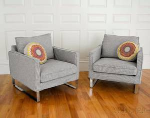 Pair of Modern Chrome and Checkupholstered Club Chairs