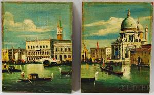 Continental School 20th Century Two Views of Venice Doges Palace
