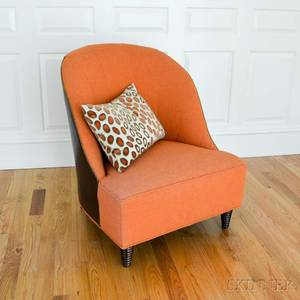 Baker Burnt Orange and Leatherupholstered Club Chair with Accent Cushion
