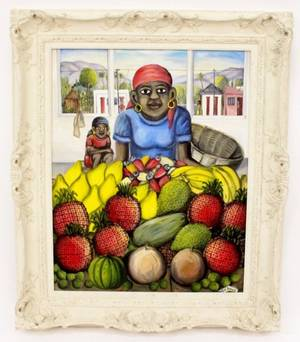 Oil on Canvas by Wilson Bigaud Lady w Fruit