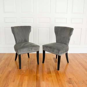 Pair of Modernstyle Sage Plush Upholstered Side Chairs