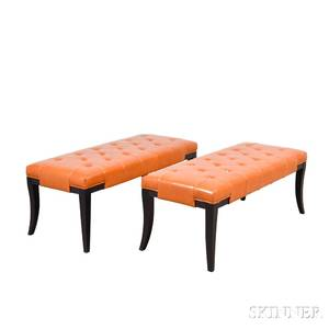 Pair of Faux Leatherupholstered Benches