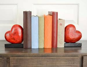 Pair of Carved Stone Heartform Bookends with Four Photo Albums and a Bird Box