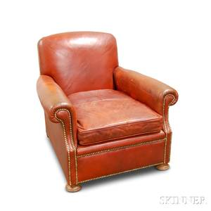 English Leatherupholstered Club Chair with Brass Tacks