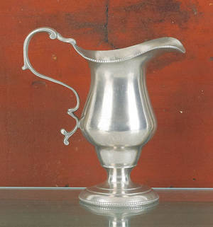 Philadelphia pewter cream pitcher attributed to Parks Boyd ca 1800