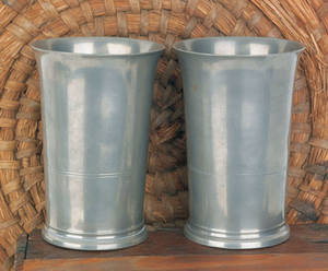 Pair of Hartford Connecticut pewter beakers ca 1835