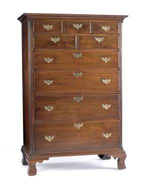 Pennsylvania Chippendale walnut tall chest ca 1770