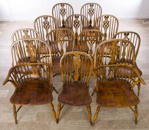 Windsor Chairs Set of Twelve 12 Ash  Elm Wood