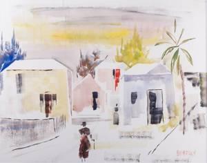 Alfred Birdsey Bermuda Street Scene Watercolor