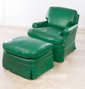 Joseph Giannola Leather Lounge Chair w Ottoman